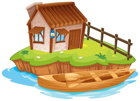 Illustration of a house on an island on a white background Vector