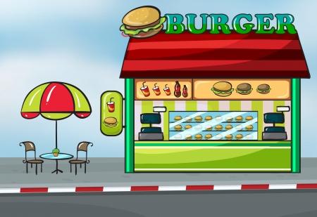 negocios comida: Ilustraci�n de un restaurante de comida r�pida cerca de la calle
