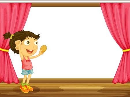 woman eat: Ilustraci�n de una ni�a y una ventana con una cortina roja