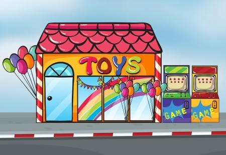 Illustration d'un magasin de jouets près d'une rue Banque d'images - 16930229
