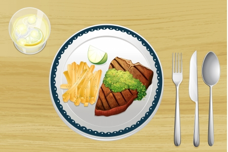 Illustration of a steak and french fries on a wooden table Vector