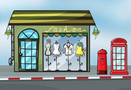 gouttière: Illustration d'une boutique de mode et un callbox pr�s de la rue Illustration