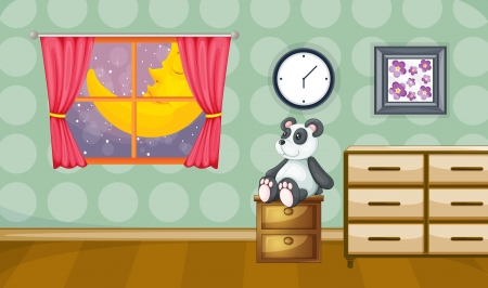 illustration of a childrens room at night Vector