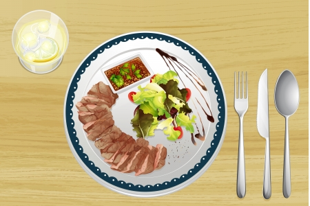 dinning table: Illustration of beef and salad on a wooden table