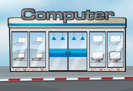 cartoon building: Illustration of a computer shop near the street