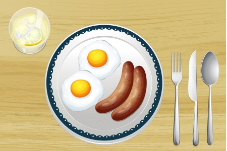 Illustration of sausages and eggs on a wooden table Vector