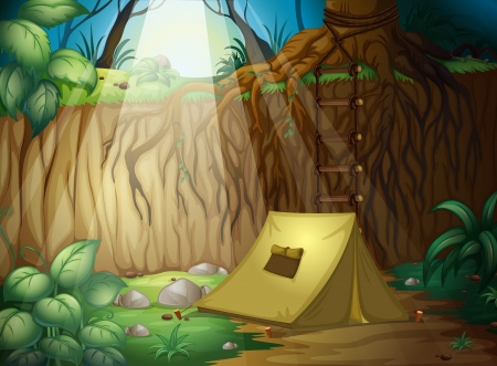 Illustration of camping in the jungle Vector