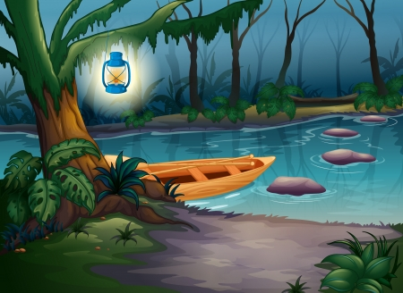 Illustration of a canoe in a mysterious forest Vector