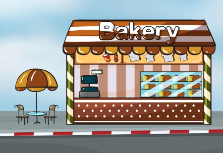 Illustration of a bakery shop near a street Vector