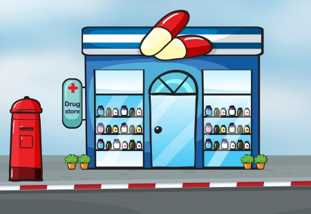 store display: illustration of a drug store near a street