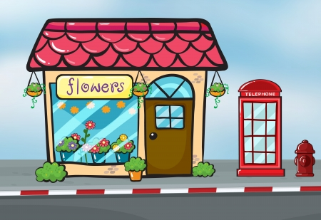 show plant: Illustration of a flower shop and a callbox near the street