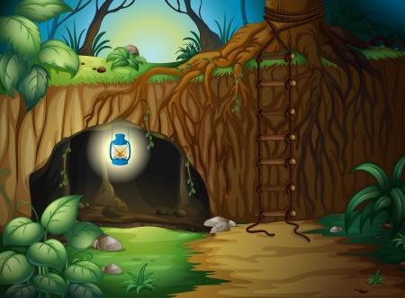 Ilustración de una cueva en la selva con una linterna
