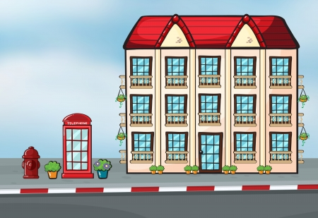 curb: Illustration of a large house and a callbox near the street Illustration
