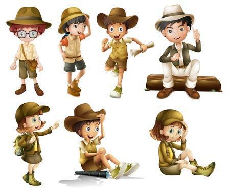 aventura: Ilustración de chicos y chicas en traje de safari sobre un fondo blanco