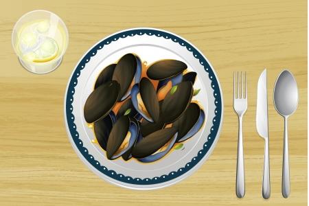 cozza: Illustrazione di mitili su un piatto su un tavolo di legno Vettoriali