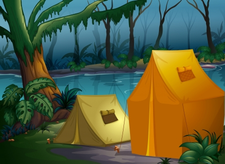 Illustration of camping in the jungle near the river Vector