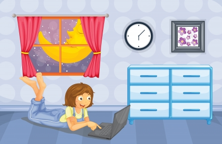illustration of a girl playing with her computer in her room Stock Vector - 16930267