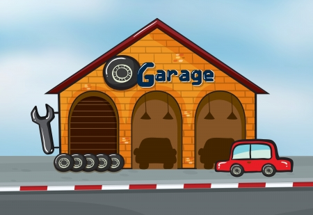 dirty car: Illustration of a garage near a street