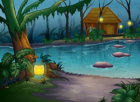 river rock: Illustrazione di una capanna nei boschi vicino a un fiume