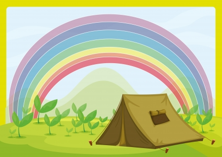 Illustration of a tent and a rainbow on a field Vector