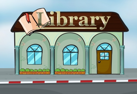 shops street: Illustration of a library near the street Illustration