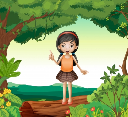 small girl: Illustration of a girl standing on wood in nature
