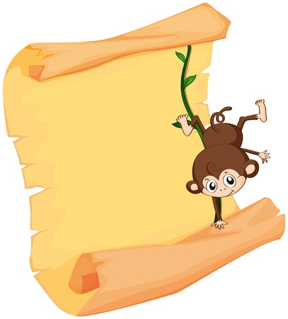 baby monkey: Illustration of a monkey and a paper sheet on a white background Illustration