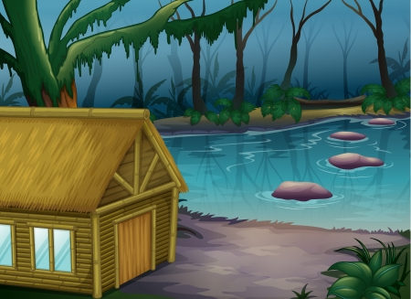 Illustration of a bamboo cabin in the woods near a river Vector