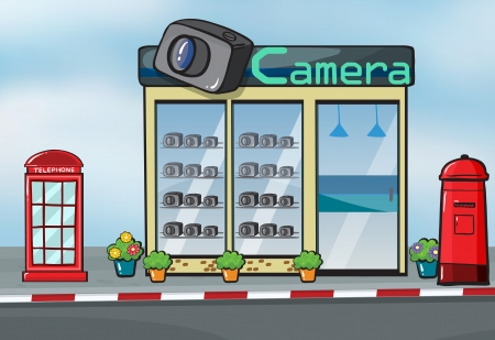 letterbox: Illustration of a camera store, letterbox and callbox