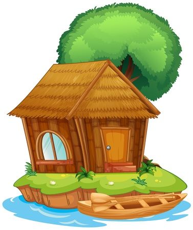 lake house: Illustration of a house on an island together with a tree and a canoe Illustration
