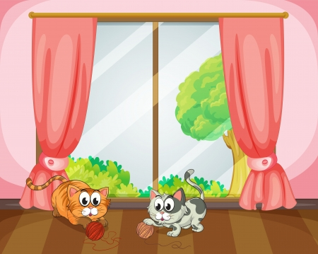 Illustration of cats playing with wool in a room Vector