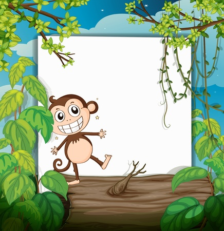 Illustration of a monkey and a white board in a beautiful nature Stock Vector - 16930059