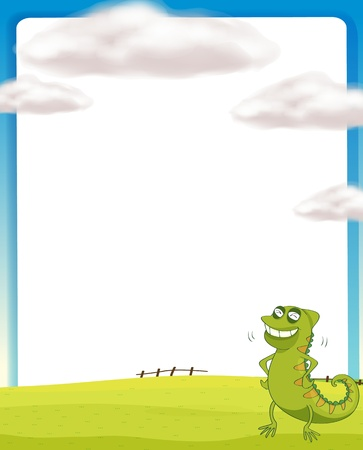 Illustration of a chameleon standing on a field Vector