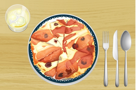 Illustration of a pizza with ham on a wooden table Vector
