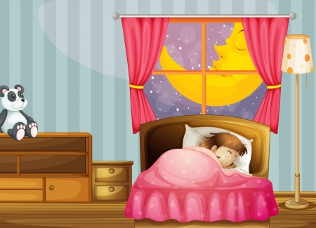 sleeping at desk: illustration of a sleeping girl in her bedroom Illustration