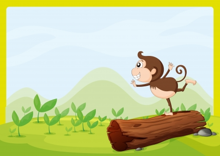 Illustration of a monkey dancing on wood in a beautiful nature Stock Vector - 16930145