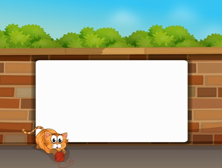 Illustration of a cat and a white board in front of a wall Stock Vector - 16930272