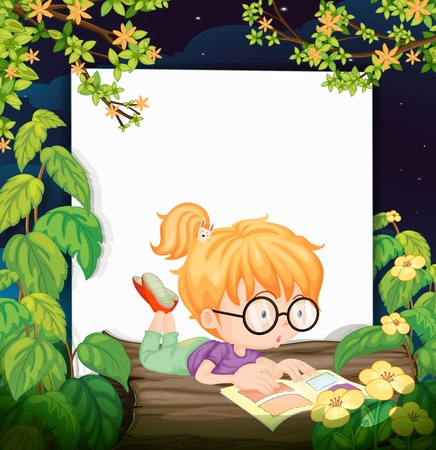 night vision: Illustration of a reading girl and a white board in a beautiful nature