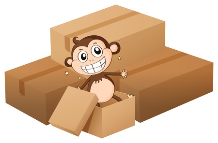 Illustration of a monkey and boxes on a white background Stock Vector - 16930273