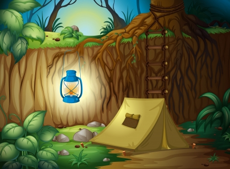 Illustration of camping in the jungle Stock Vector - 16930004