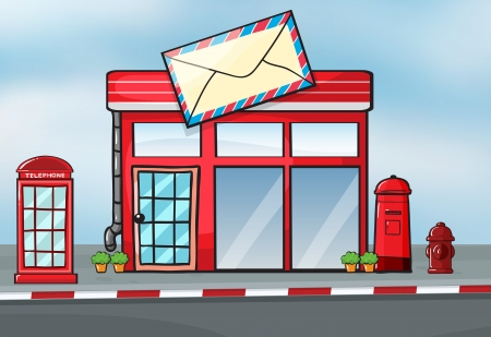 Illustration of a post office near a street Stock Vector - 16930243