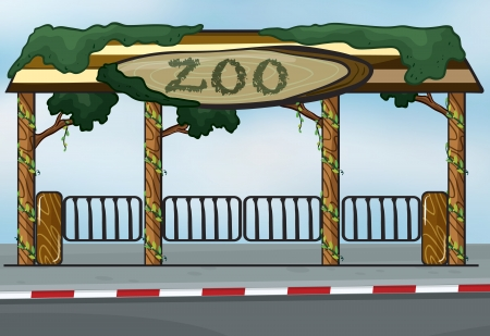 illustration zoo: illustration of a zoo entrance near a street Illustration