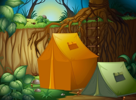Illustration of a tent camp in the woods Vector