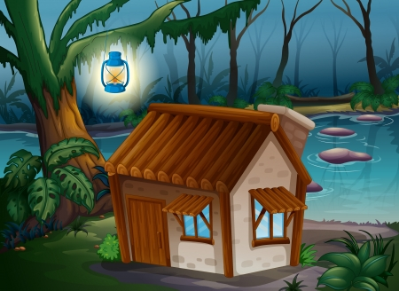 Illustration of a house, a lamp and a river in the jungle Vector