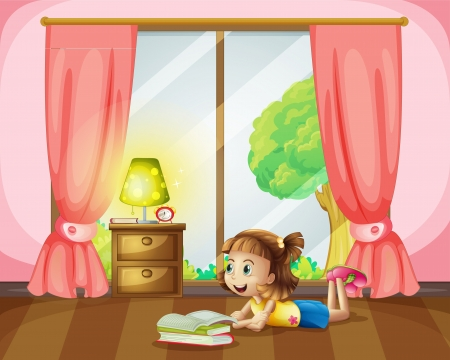 Illustration of a girl reading a book in her room Vector