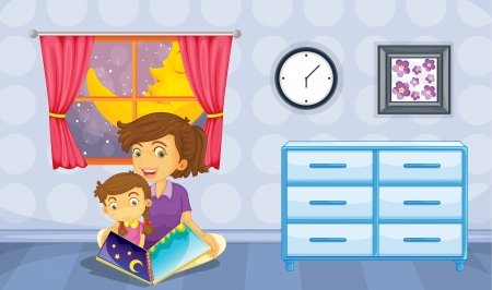 mom son: Illustration of a mother and her daughter reading a book Illustration