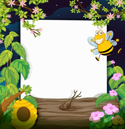 bee on white flower: Illustration of a bee and a white board in a beautiful nature Illustration