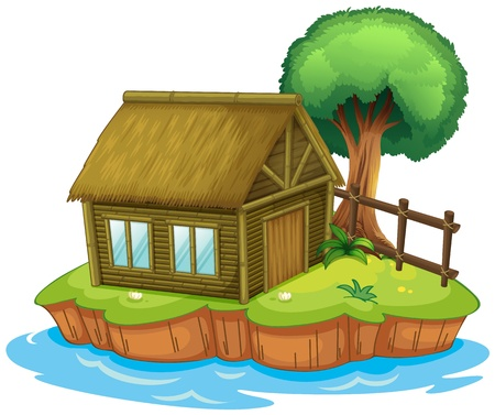 bungalow: Illustration of a house and a tree on an island