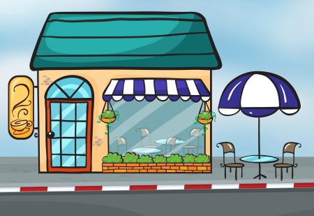coffeehouse: Illustration of a coffeehouse near the street