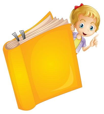 yellow jacket: Illustration of a girl and a book on a white background